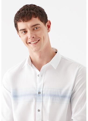 Mavi Çizgili  Gömlek Beyaz